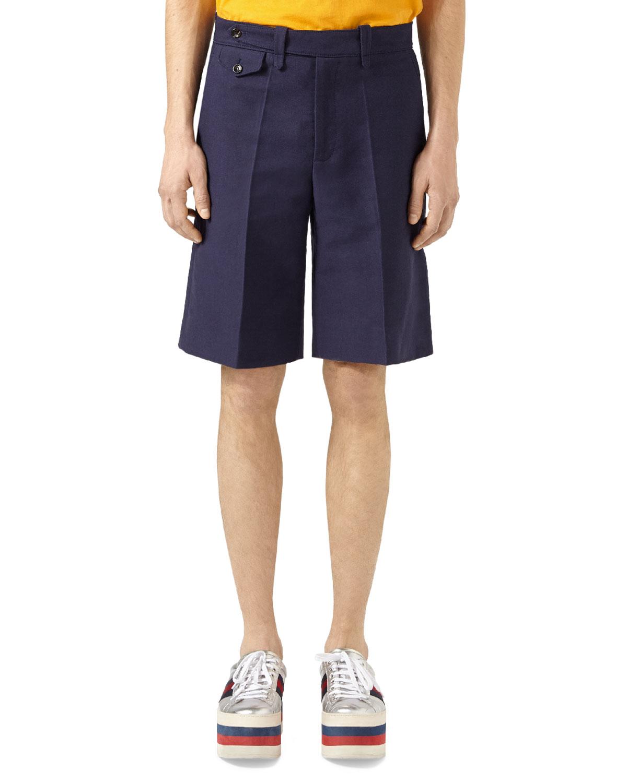 Washed Cotton Shorts, Blue