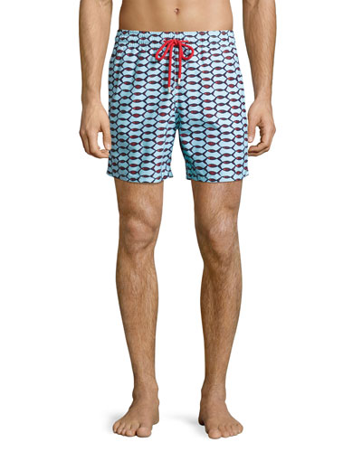 Moorea Repeating Fish Swim Trunks, Blue
