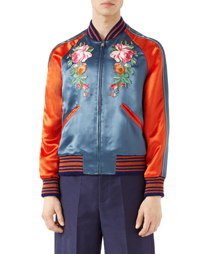 Acetate Bomber Jacket with Appliqu&#233s