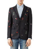 Wool Mohair Monaco Jacket, Dark Gray