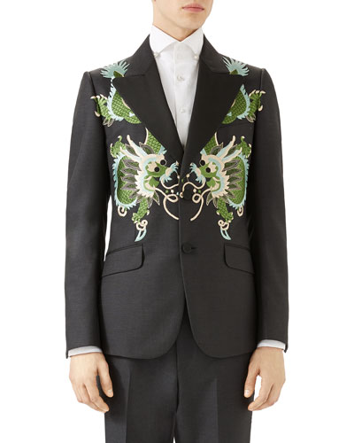 Heritage Wool Mohair Jacket with Dragons