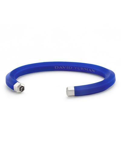 Men's Rubber & Sterling Silver Hex Cuff Bracelet, Blue