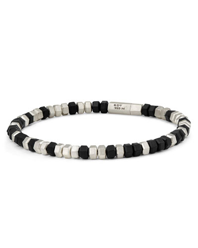 Men's Hex Bead Bracelet, Black