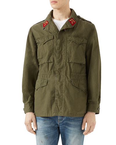 Dragon-Print Cotton Parka, Khaki