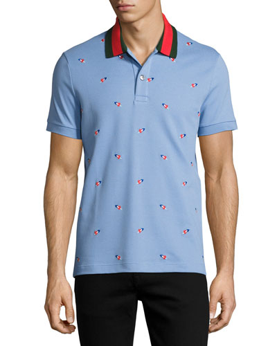 Cotton Pique Polo with Pierced Hearts
