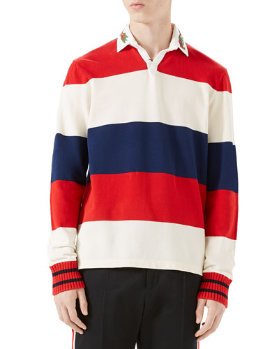 Striped Pique Rugby Shirt with Dragon Embroidery