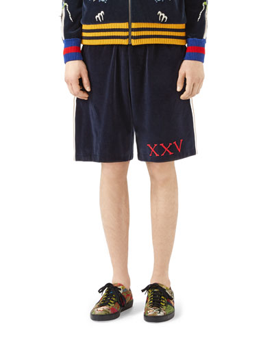 Gucci Cottons VELVET JERSEY SHORTS WITH GOTHIC GUCCI APPLIQUÉ