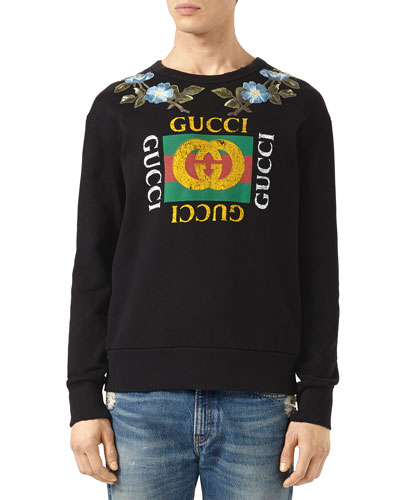 Cotton Sweatshirt with Gucci Print & Flowers