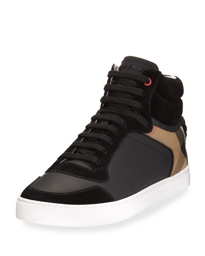 Reeth Leather & House Check High-Top Sneaker