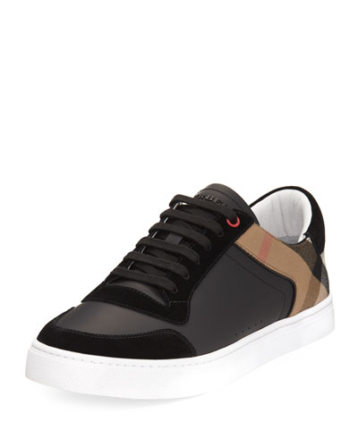 Reeth Leather & House Check Low-Top Sneaker, Black