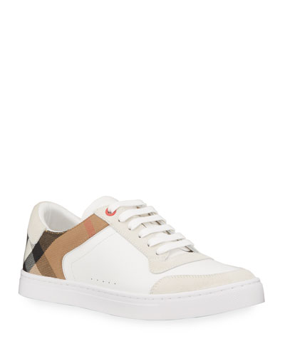 Reeth Leather & House Check Low-Top Sneaker, White