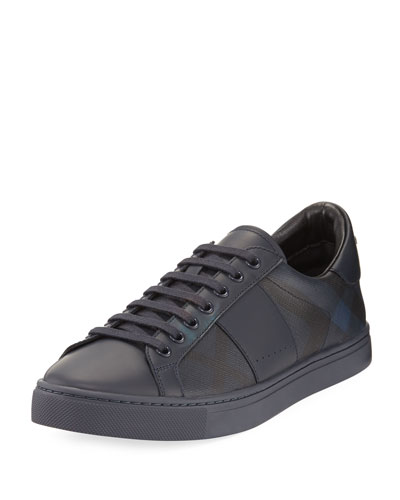 Ritson PVC Check & Leather Low-Top Sneaker, Navy