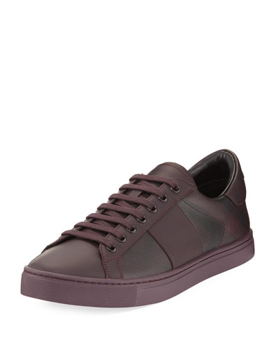 Ritson PVC Check & Leather Low-Top Sneaker, Wine