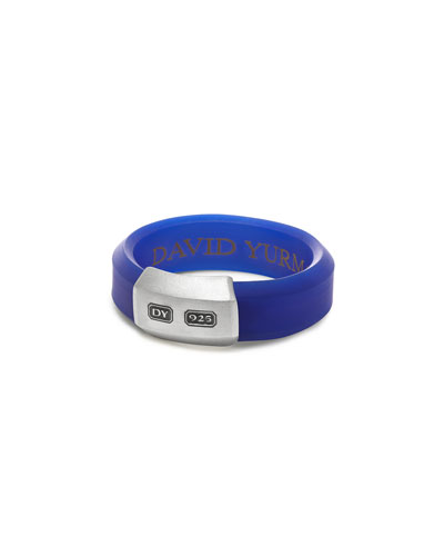 Men's Hex Band Ring in Blue Rubber & Sterling Silver