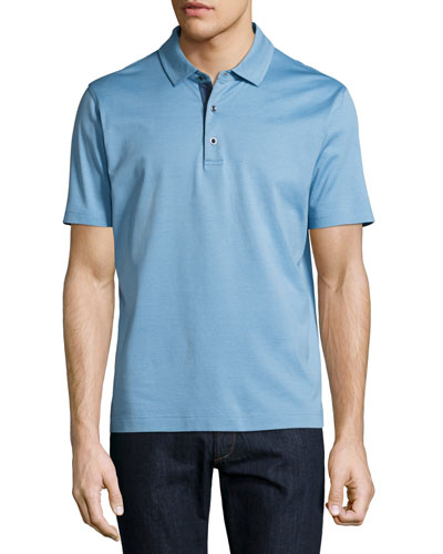 Turnell Cotton Polo Shirt, Blue