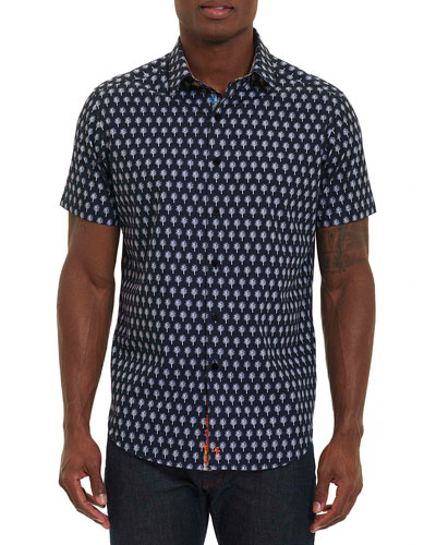 Palm Trees Short-Sleeve Sport Shirt, Navy