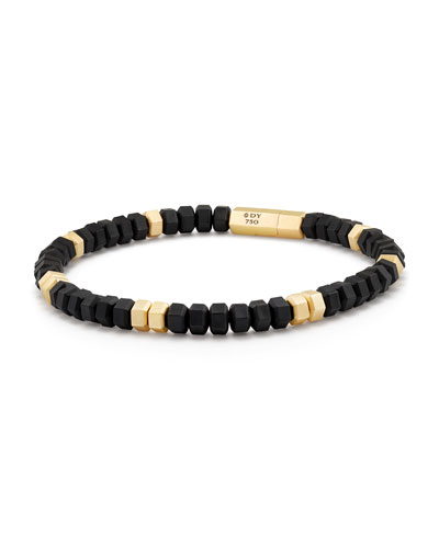 Men's Hex Bead Bracelet in 18K Gold & Black Rubber