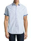 Lorence Seersucker Short-Sleeve Shirt, Light Blue
