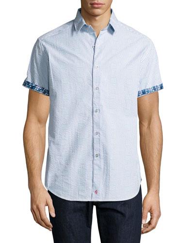 Lorence Seersucker Short-Sleeve Shirt, Light Blue