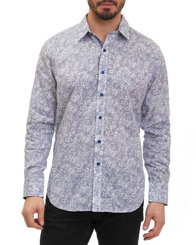 Moss Landing Micro-Floral Shirt, Indigo