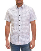 Flip-Flop Short-Sleeve Sport Shirt, White