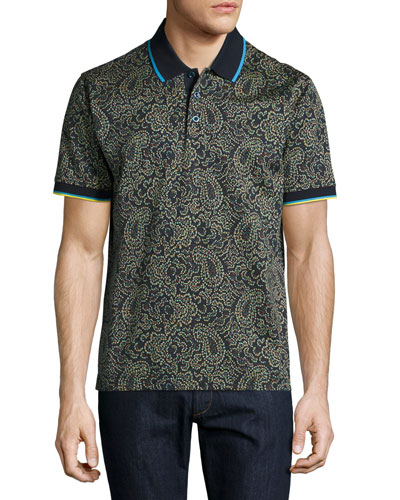 Kamden Pixelated Paisley Polo Shirt, Navy