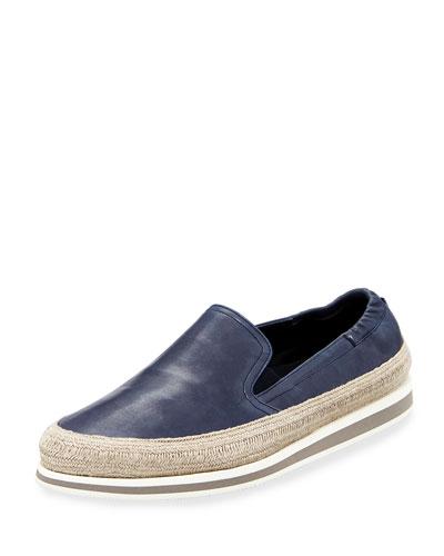 Men's Leather Slip-On Espadrille Sneakers, Blue