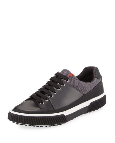 Gentleman Mixed-Media Low-Top Sneaker, Black