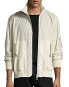 Translucent Tech Bomber Jacket, Beige