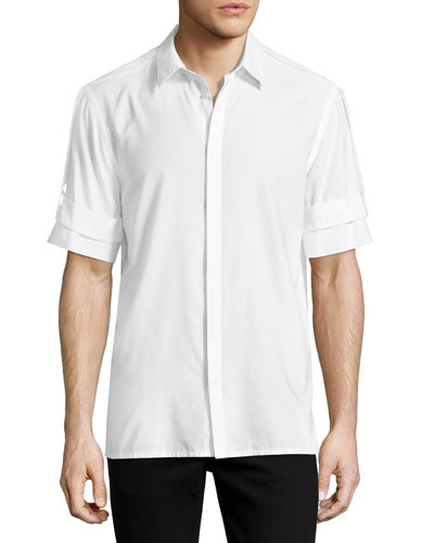 Armband Short-Sleeve Shirt, White