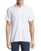 Seersucker Cotton Short-Sleeve Shirt