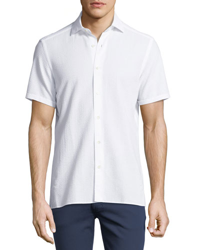 Seersucker Cotton Short-Sleeve Shirt