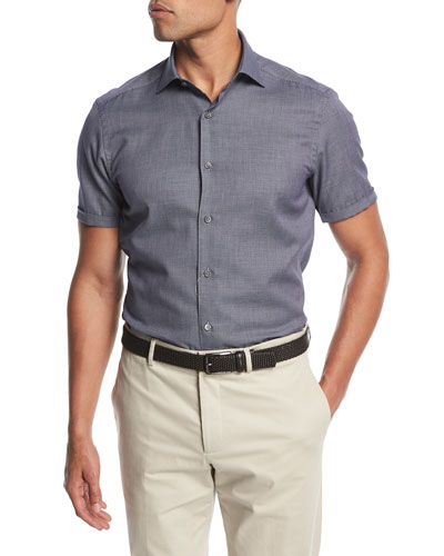Small-Dot Short-Sleeve Cotton Shirt