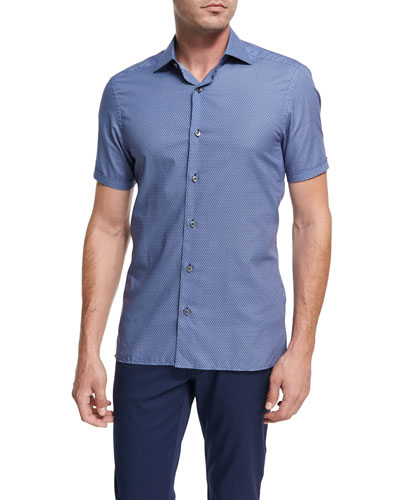 Record-Print Short-Sleeve Cotton Shirt, Dark Blue