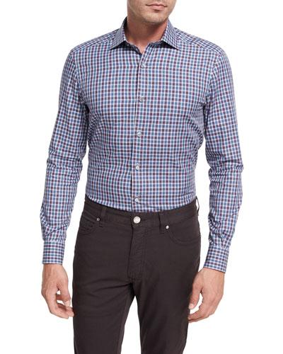 Shadow Plaid Cotton Sport Shirt, Burgundy/Blue/White