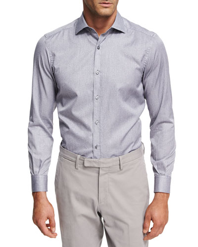 Striped Melange Cotton Shirt, Medium Gray