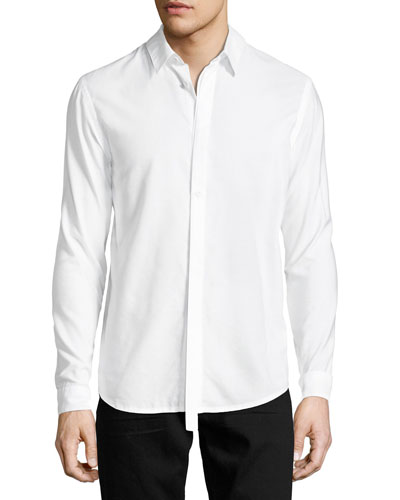 Detached-Placket Micromodal-Cotton Shirt, White
