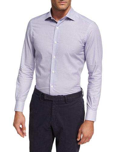 Geometric Box-Print Cotton Shirt, Light Purple