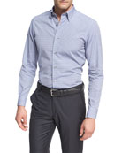 Check Cotton Dress Shirt, Medium Gray/White/Navy