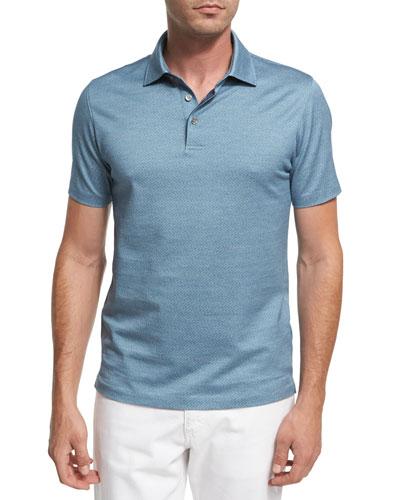 Maze Chevron Cotton Polo Shirt, Teal Blue