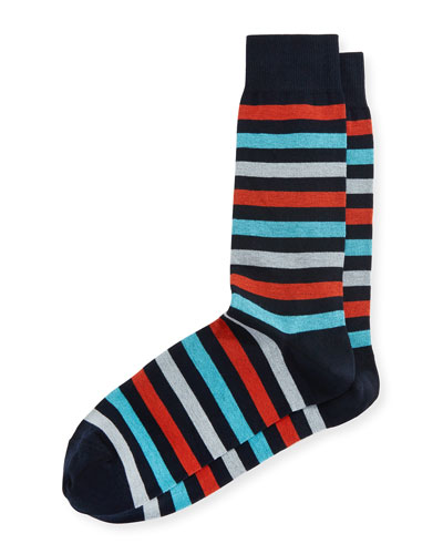 Multicolor-Stripe Mercerized Socks