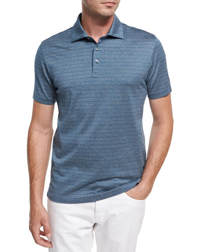 Striped Cotton Polo Shirt, Teal/White/Dark Blue