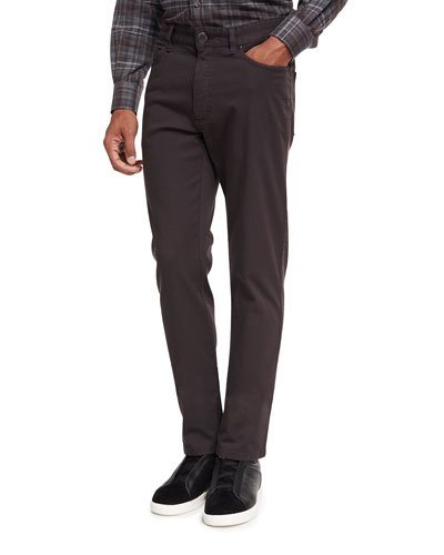New Pique Five-Pocket Pants, Dark Brown