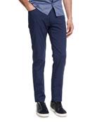 New Pique Five-Pocket Pants, Navy