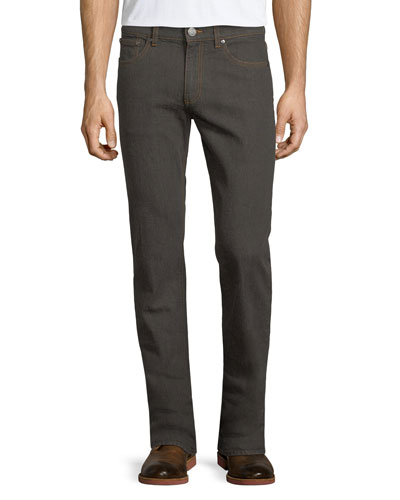 Melange Straight-Leg Jeans, Dark Brown/Gray