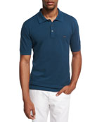 Cotton Pique Polo Shirt, Teal Blue