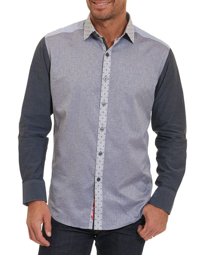 Bergamot Mixed-Media Cotton Shirt, Indigo