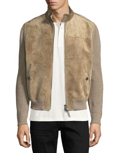 Cashmere-Linen Suede-Front Blouson Jacket