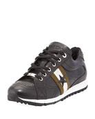 Rafi Men's Star Leather Trainer Sneaker, Black