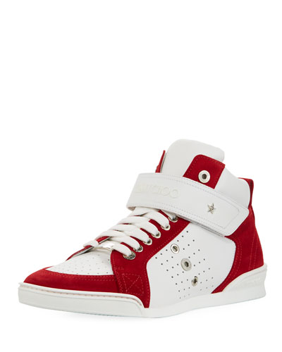 Lewis Suede & Leather High-Top Sneaker, White/Red